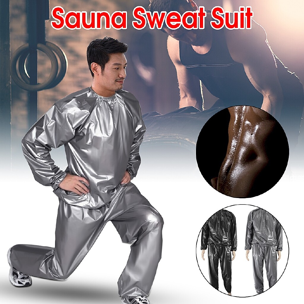 Accessories - Anti-Rip Fitness Weight Loss Heavy Duty Sweat Suit Sauna Suit Exercise Gym Suit - BLACK L / BLACK XL / BLACK XXL / BLACK XXXL / BLACK 4XL / GRAY L / GRAY XL / GRAY XXL / GRAY XXXL / GRAY 4XL