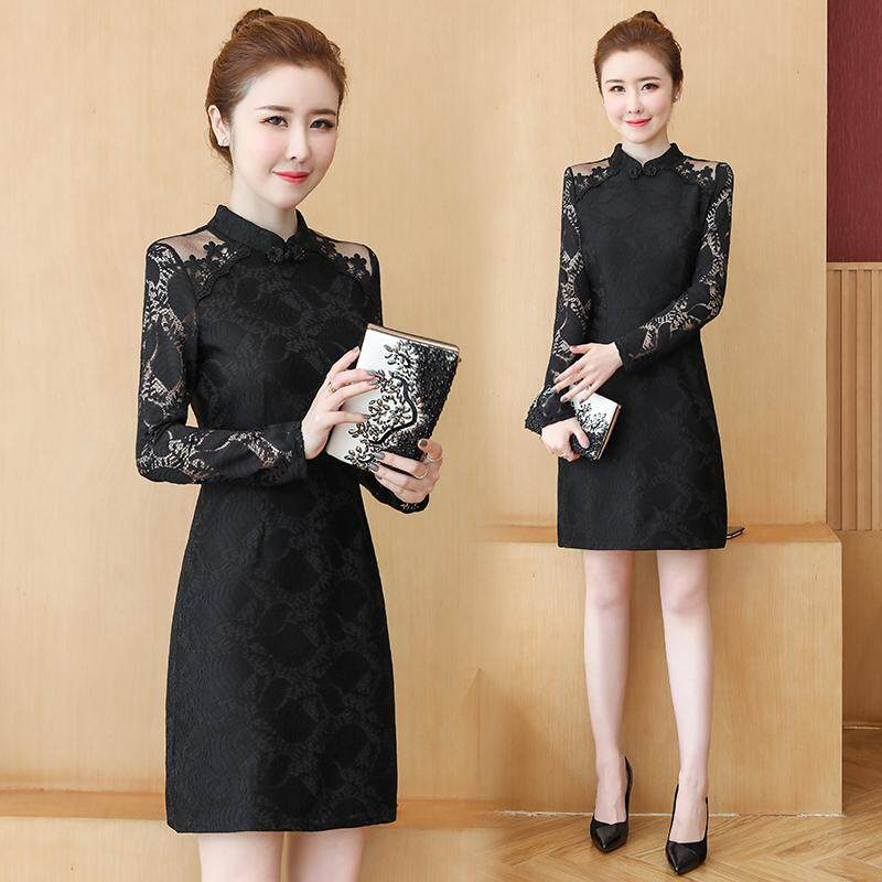 (Pre Order14 Days JYS Fashion Korean Style Women CNY Festive Red Cheongsam Collection-5261188col526-1188--Black -Int:S