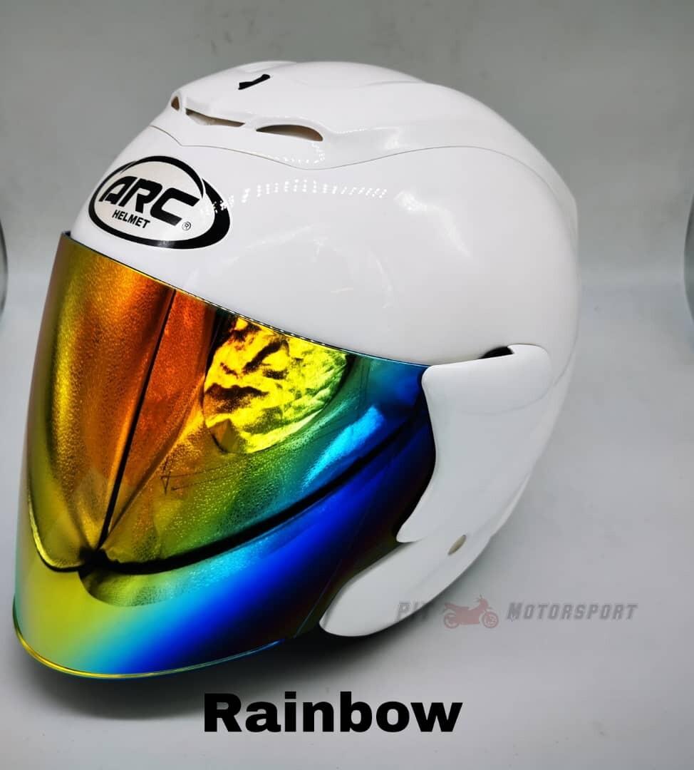 Pearl White Helmet ARC RITZ Open Face Original Size L / XXL Add On Visor Clear / Smoke / Gold / Red / Blue / Rainbow Visor & Helmet ARC