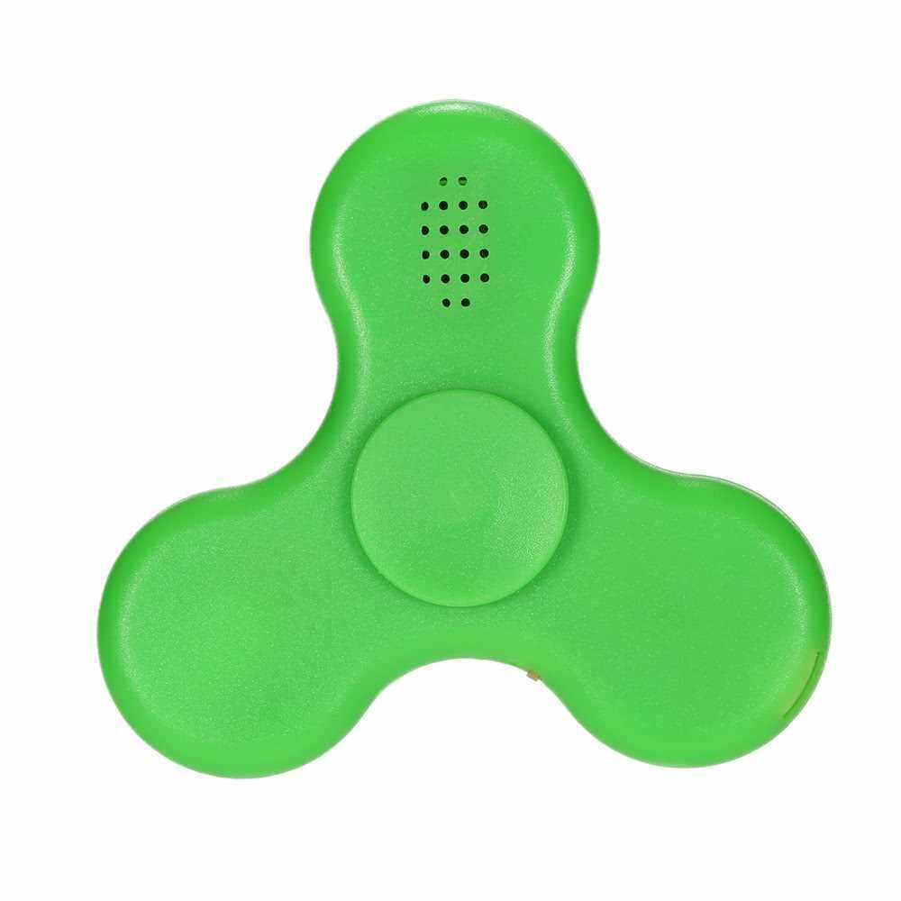 Rechargeable LED Fidget Toys EDC Focus Stress Reducer Relief Toy for Kids Adults Ultra Durable High Speed BT Speaker Portable Spinner (Green)