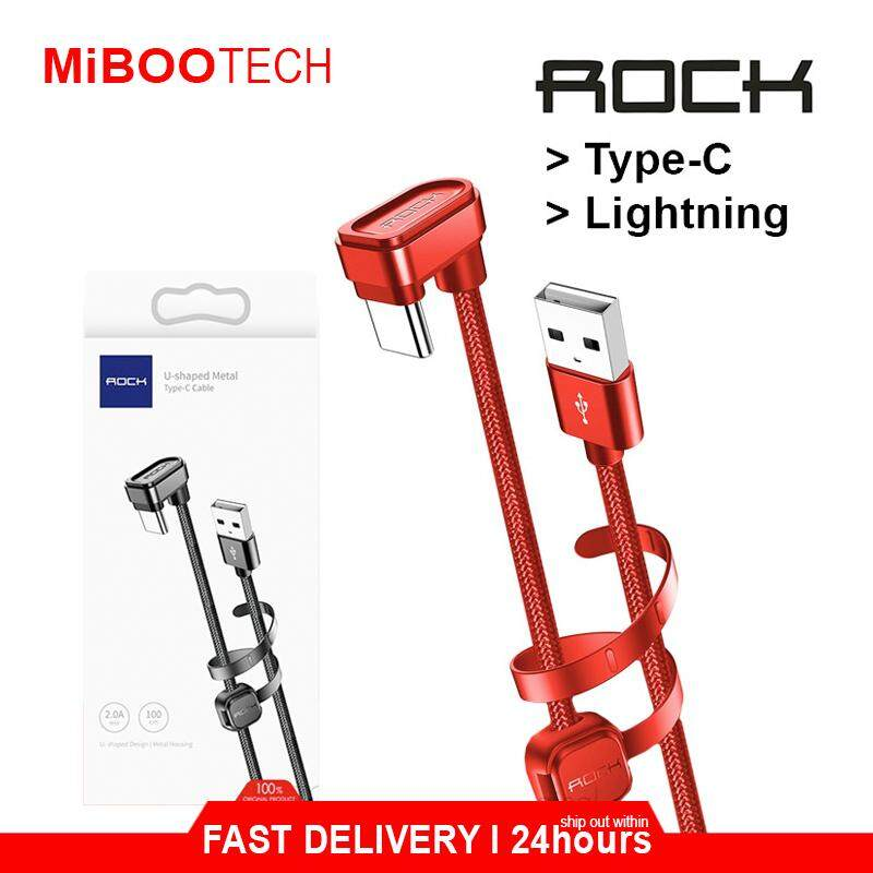 [Miboo] ROCK Mobile Gaming Fast Charging Type-C & Lightning Smart Phone Gaming Charging Cable Mobile Data Transmite IPhone Cable / Huawei Cable / Samsung Cable / Top Design In Malaysia - Lightning(Iphone)-Black