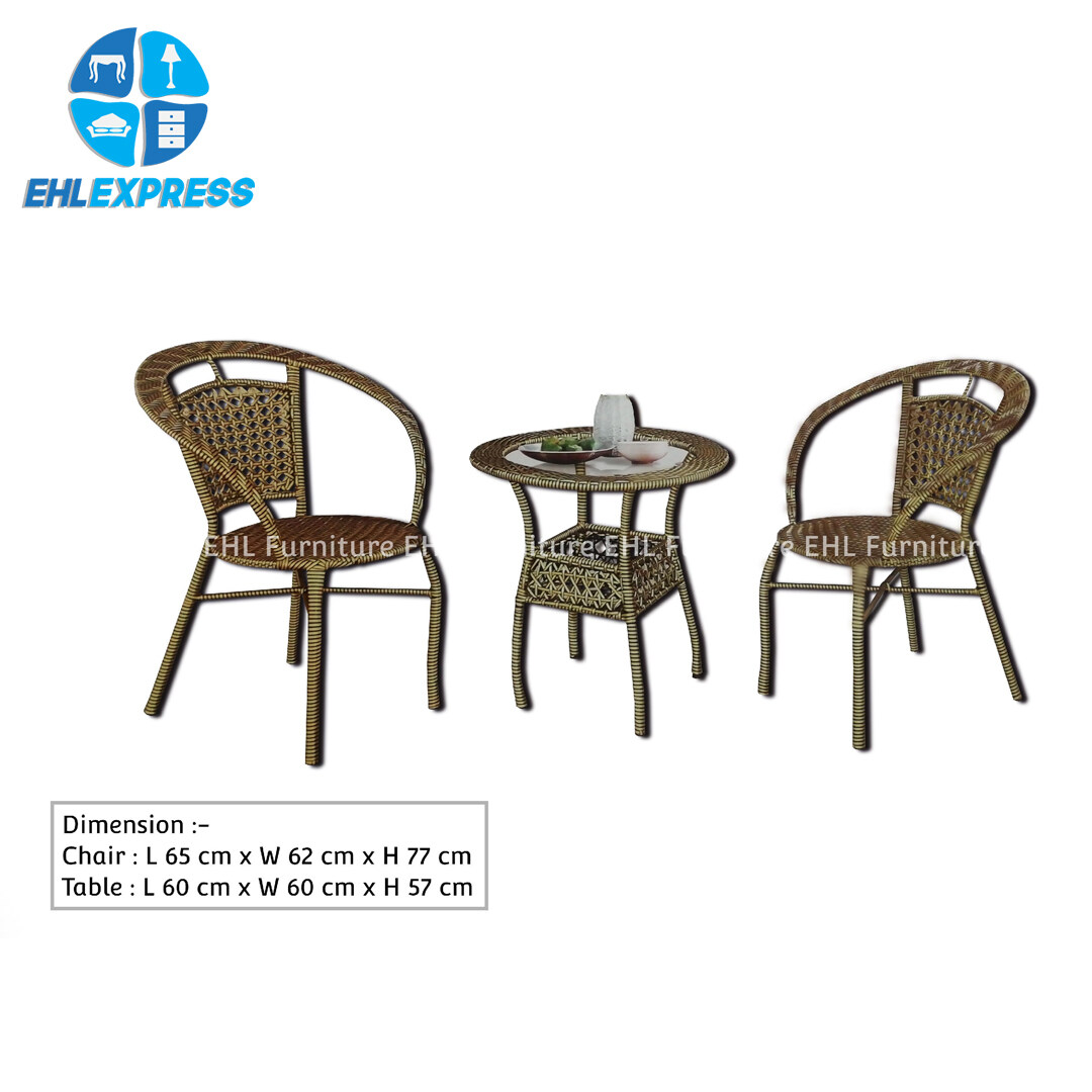 EHL EXPRESS  Garden / Outdoor rattan chair set with glass table