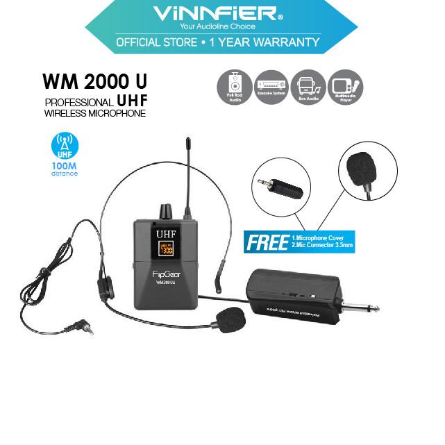 Vinnfier FlipGear WM2000 U Professional Universal UHF Handsfree Headsets Wireless Microphones With Rechargeable Transmitter For Headphones