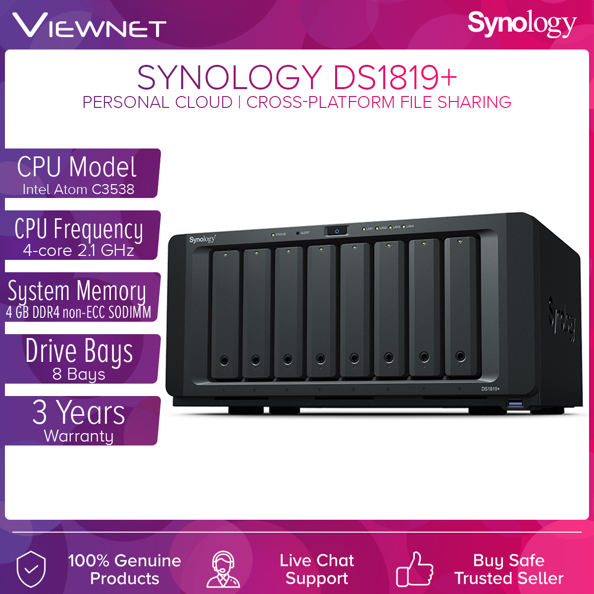 Synology Enclosure 8-BAYS/Intel Atom C3538 QC 2.1GHz/4GB (DS1819+) NAS