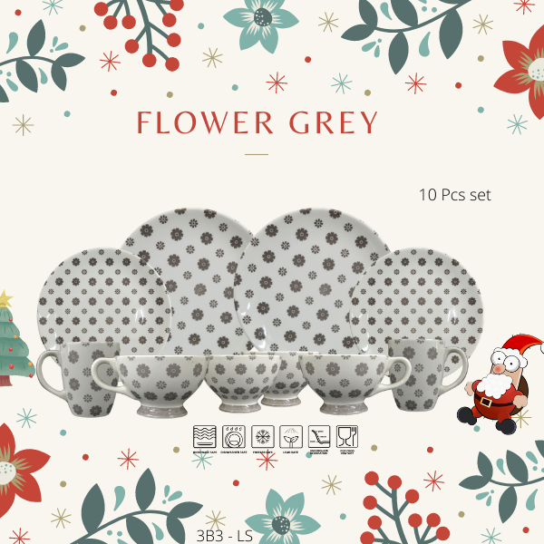 Dinning set-Christmas Promotion-3B2LS-DOTS GREY--Christmas Gift-1212 Promotion