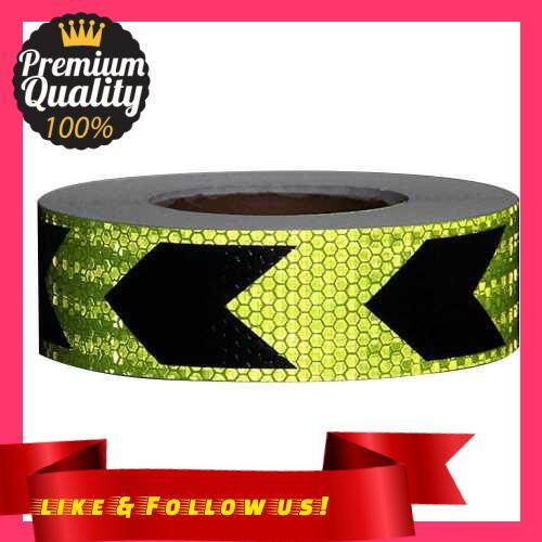 People\'s Choice Arrow Safety Warning Conspicuity Reflective Tape Strip Sticker (Green & Black)