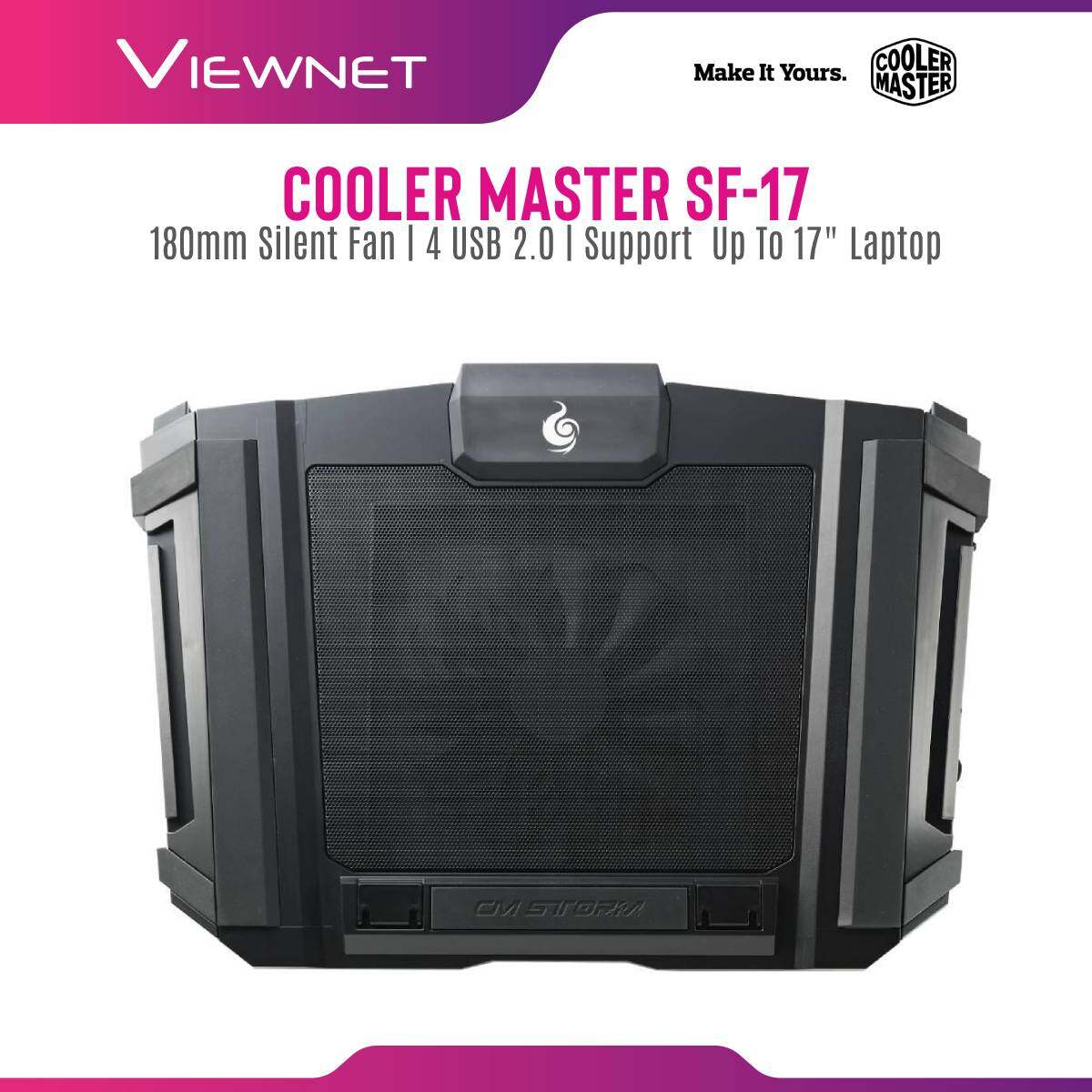 Cooler Master SF-17 180mm Silent Fan Height-Adjustable Ergonomic Mesh 4 USB 2.0 Gaming Notebook Cooler for up to 17