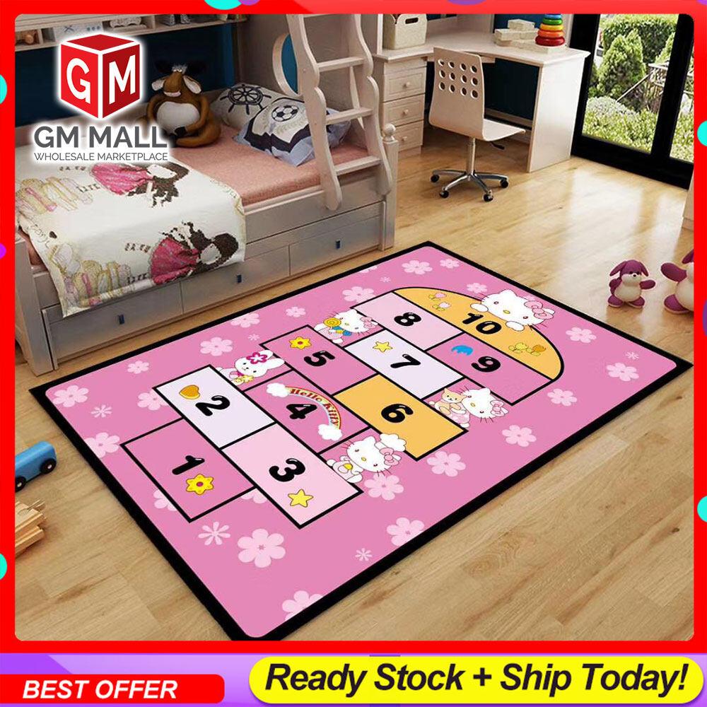 [NEW DESIGN] CARPET Cartoon Printed 5D Hello Kitty Mat Floor - Karpet Bercorak 5D Kartun Velvet Material (CC-3)