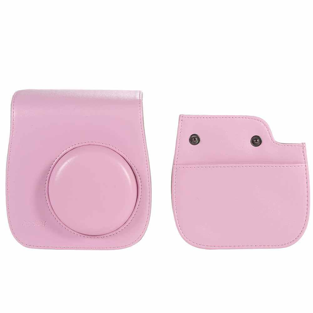 Leather Camera Case Bag Cover for Fuji Fujifilm Instax Mini8 Mini8s Single Shoulder Bag (Pink)