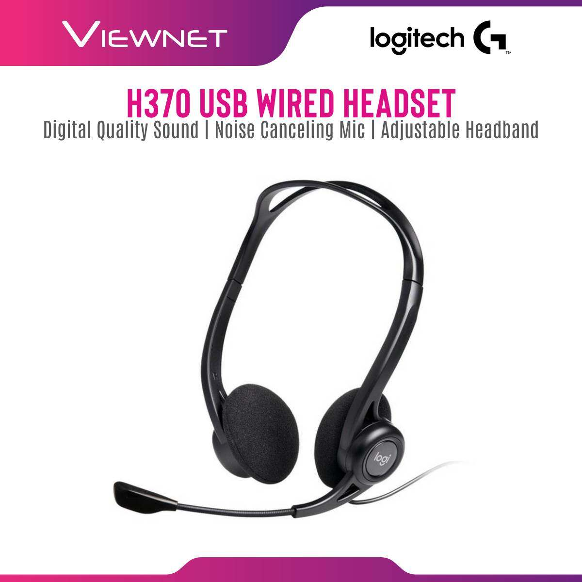 Logitech USB Wired Headset H370 with Digital Quality Sound, Noise Canceling Mic, In-Line Controls, Adjustable Headband