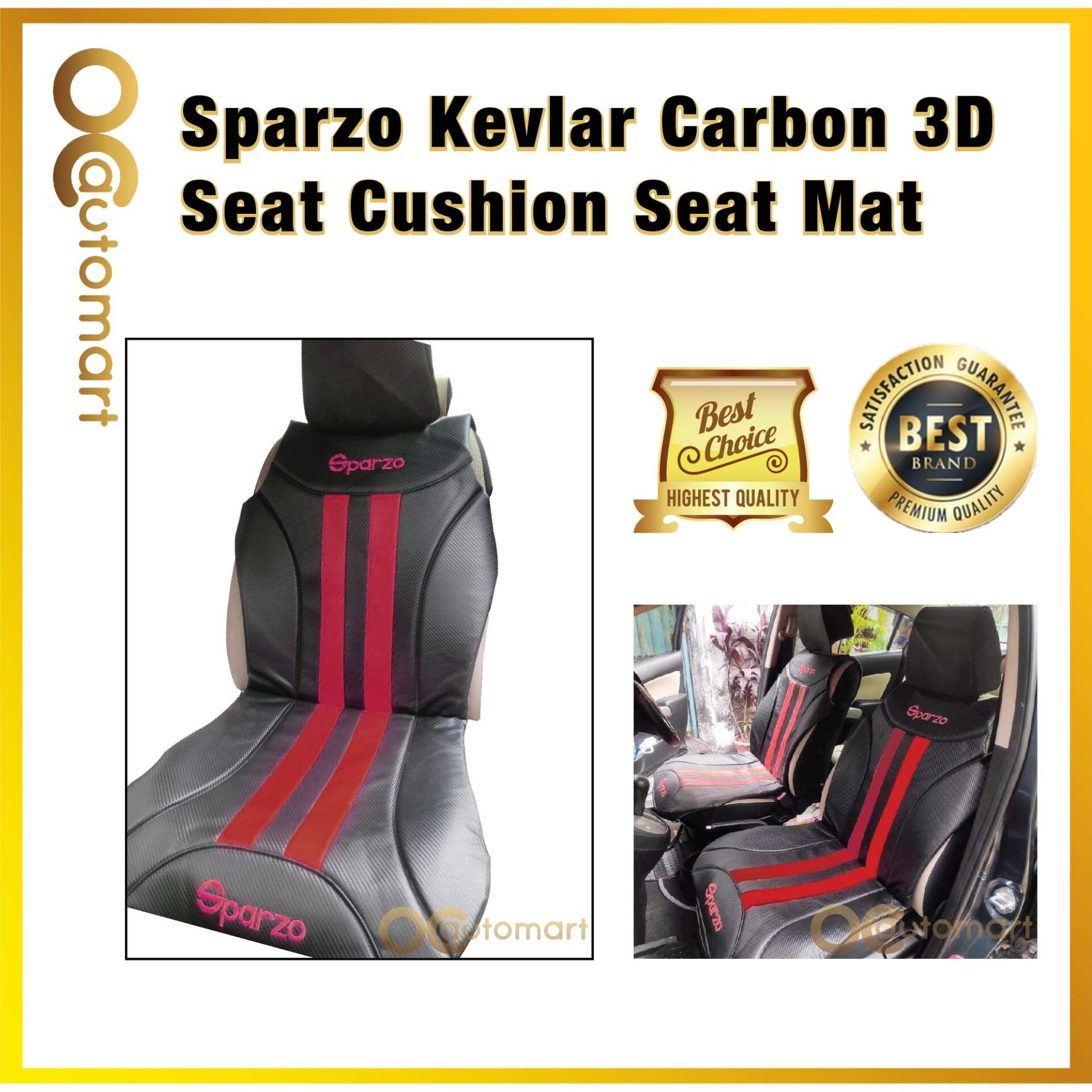 SPARZO Kevlar Seat Cushion Seat Mat Carbon Design 1 Pc MADE IN THAILAND (BLACK+RED) For PROTON PERSONA YR2016