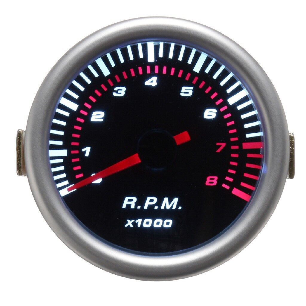 Gauges & Meters - Universal Car 52mm 2inch Counter Tacho Tachometer Gauge Pointer RPM White LED - Car Accessories