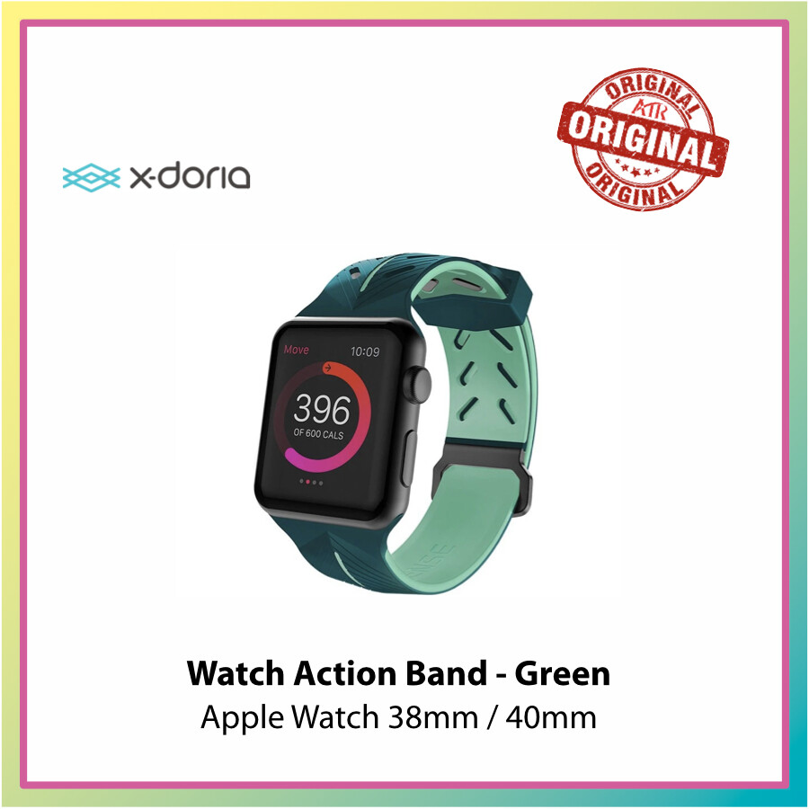 X-Doria Action Band for Apple Watch 38/40mm Black/ Green * Watch Band * Straps * Active Band *