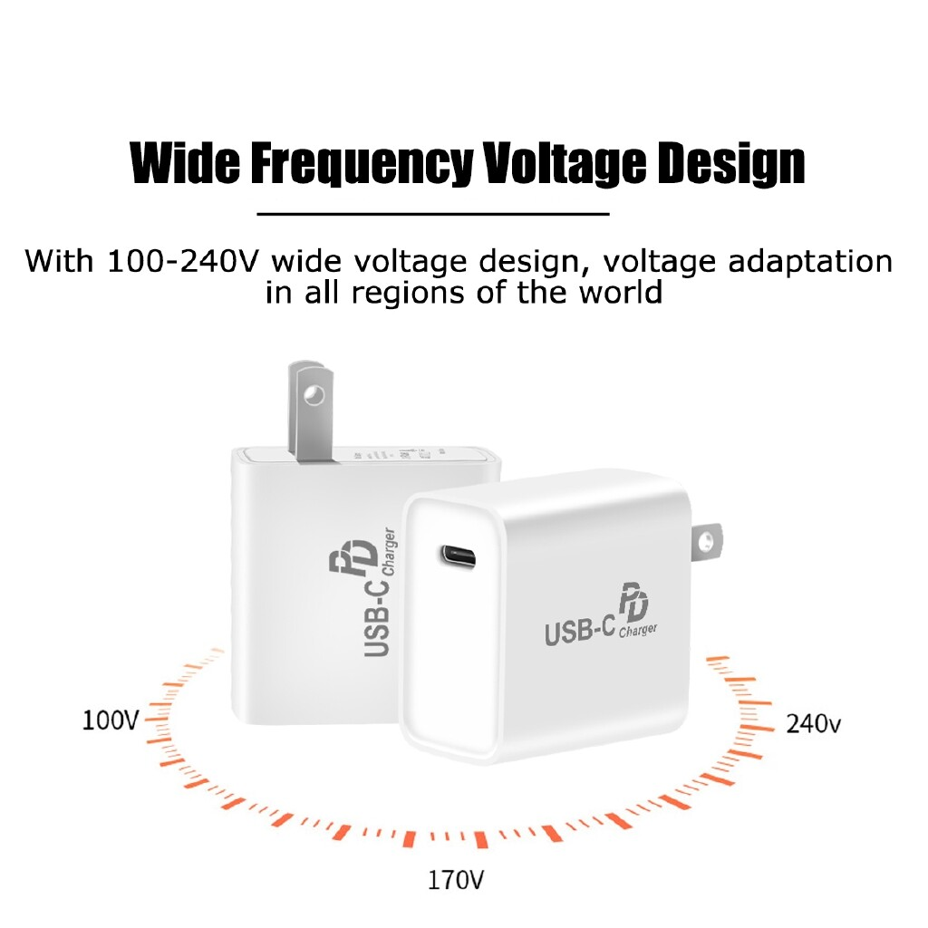 Chargers - 18W PD Fast Charging USB Type C Wall Charger Power Adapter for iPh Samsung - Cables