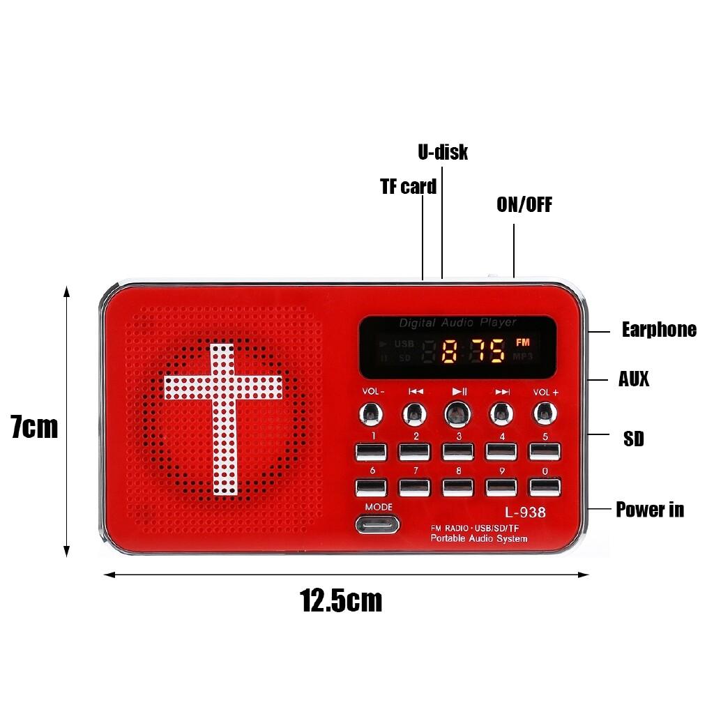 Radios - 5V PORTABLE Bible Audio MP3 Player Speaker AUX SD TF Card FM Radio LED Display - Audio