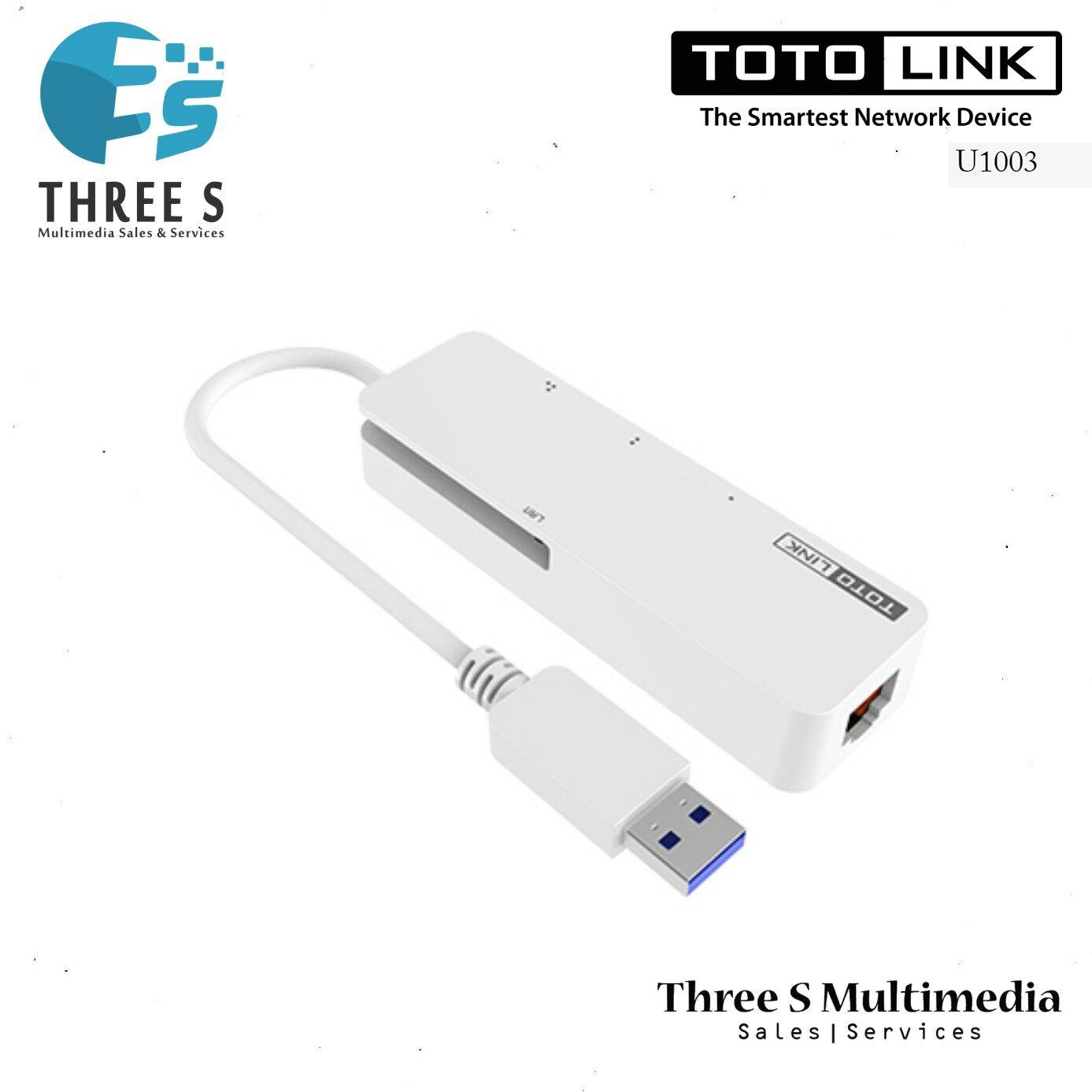 TOTO LINK 3-Port USB 3.0 Hub with RJ45 Gigabit Ethernet Adapter U1003