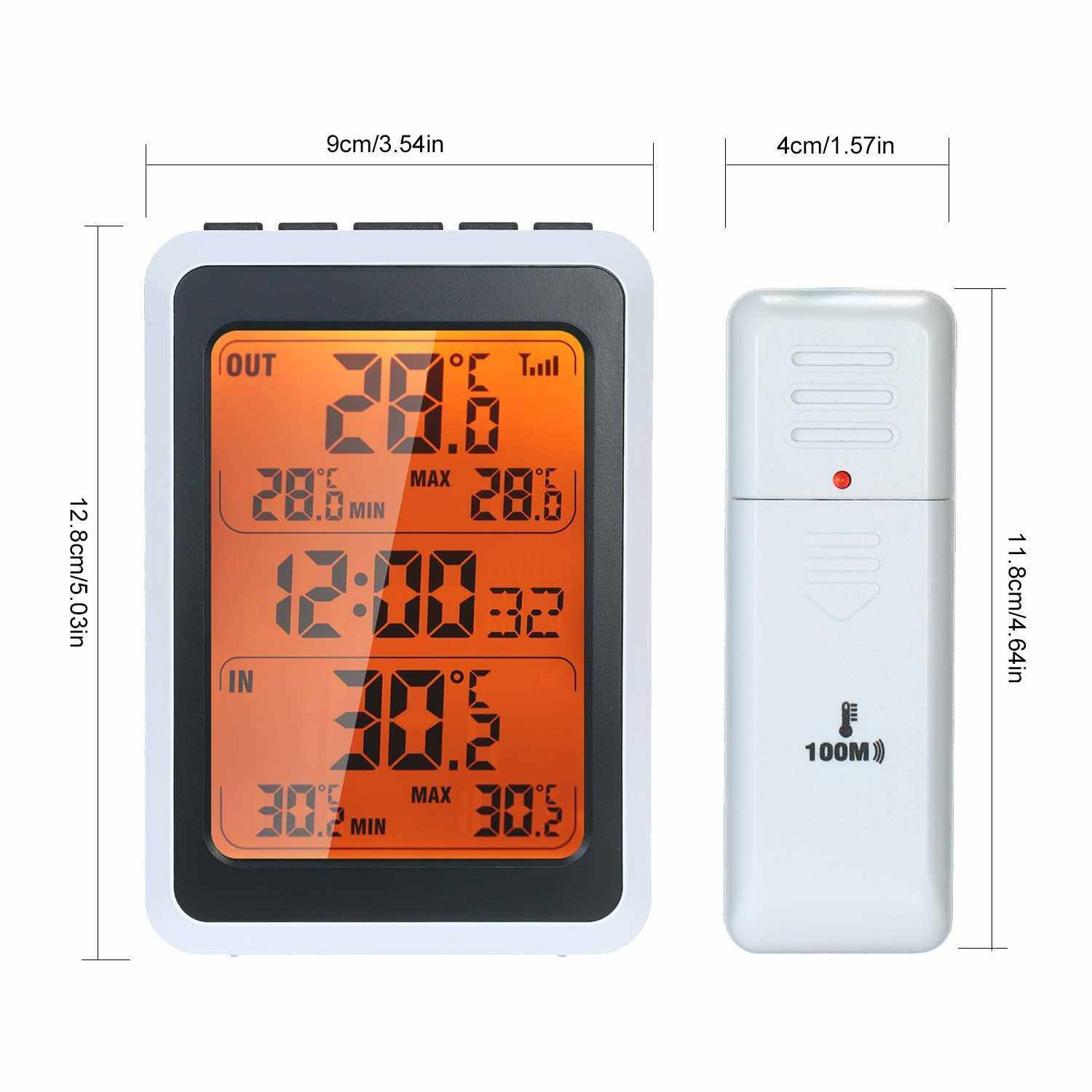 Indoor Outdoor Wireless Thermometer Digital Room Temperature Monitor Up to 328ft Away with Time Alarm Clock Backlight (Standard)