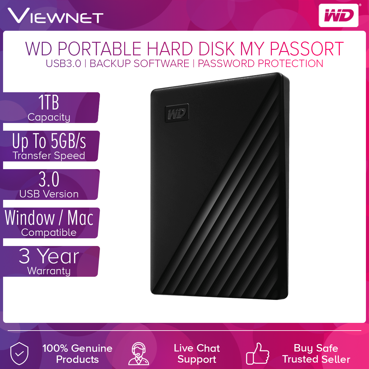 WD Western Digital My Passport 1TB Slim Portable External Hard Disk USB 3.0 With WD Backup Software & Password Protection