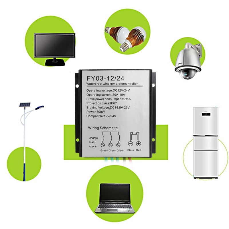 DIY Tools - 300W 12V/24V LED Wind Generator Charge Regulator Controller Turbine - Home Improvement