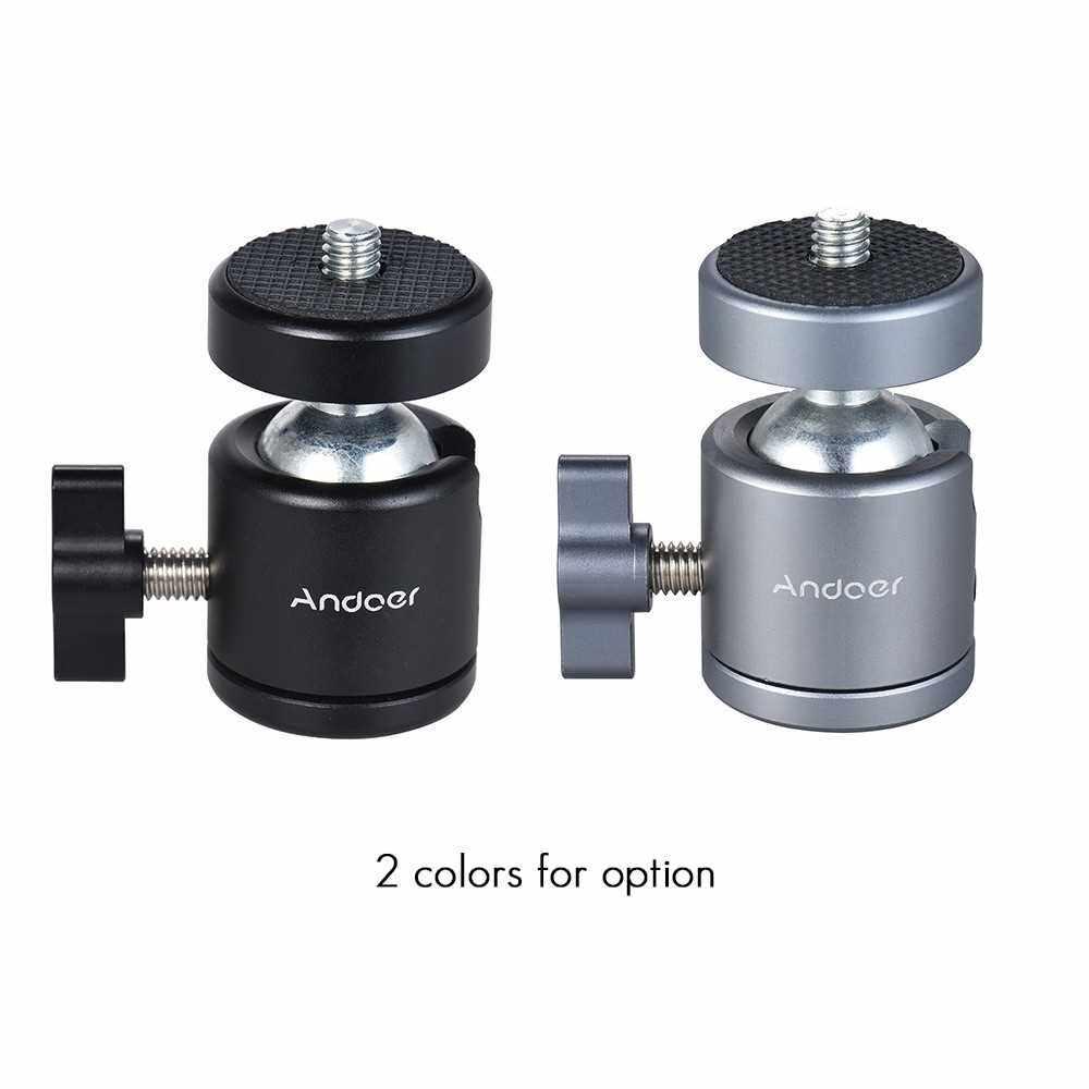 "Andoer Mini Tripod Metal Ball Head Adapter Ballhead Mount with 1/4"" Screw & 1/4"" Screw Hole (Gray)"