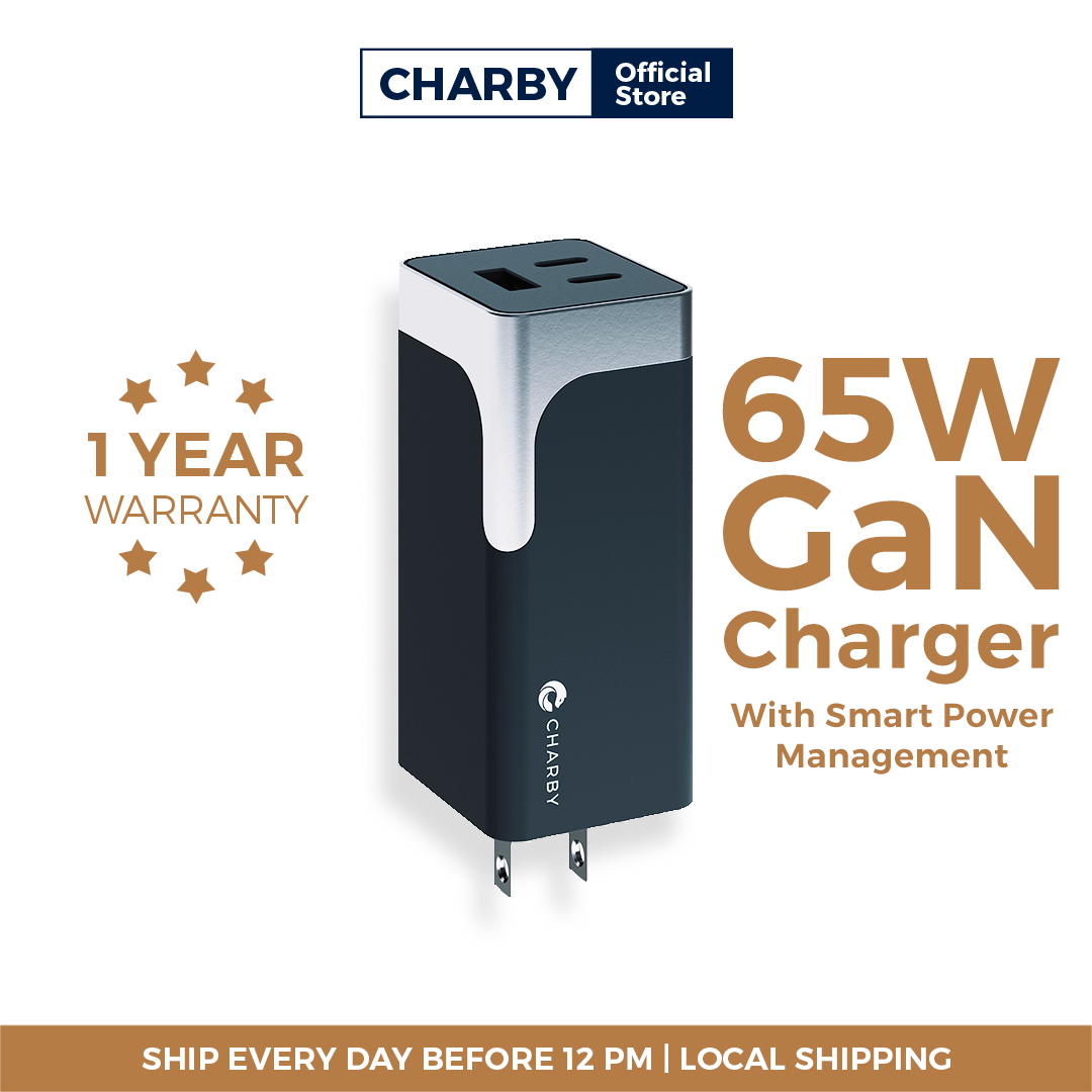 Charby Pico 65W GaN Fast Charger PD3.0/ QC3.0/ AFC/ FCP/ Fast Charging for Macbook Pro/ iPad Pro/ iPhone 11 Pro/ XS/ X/ Samsung Note/ Samsung Galaxy S/ Huawei/ Xiaomi
