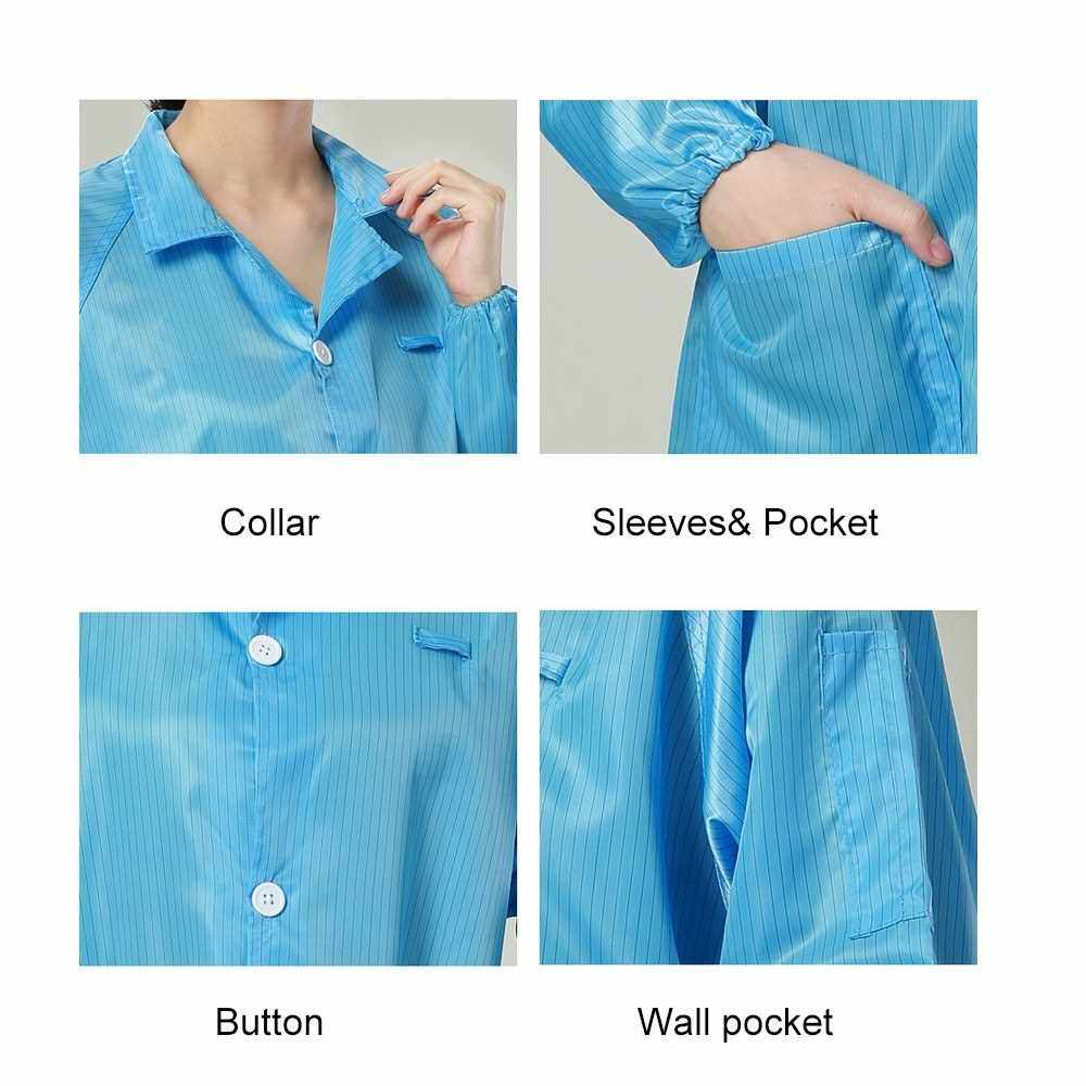 Work Clothes Antistatic Clean Anti-Static Clothes Dust-proof Labour Protection Clothing for Food Shop Medical Paint Spraying Workers(Blue Size:XXXL) (Lake Blue)