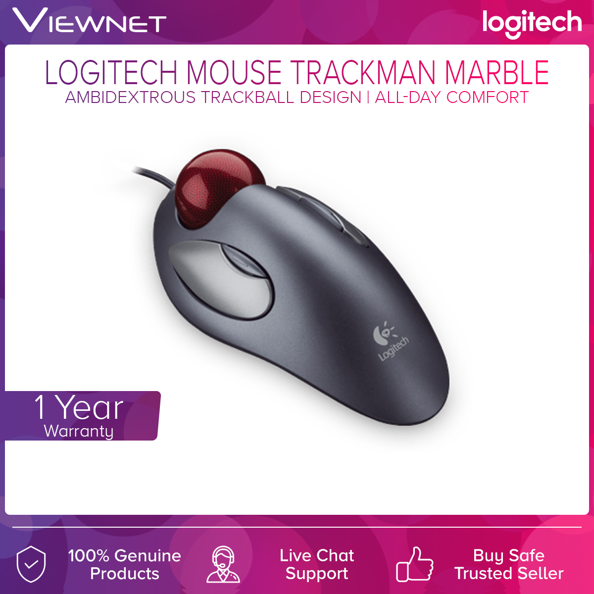 Logitech TrackMan Marble, Wired Trackball Mouse, (910-000816), Black, 300 DPI, Marble Optical Tracking, USB, PC, Mac, Laptop
