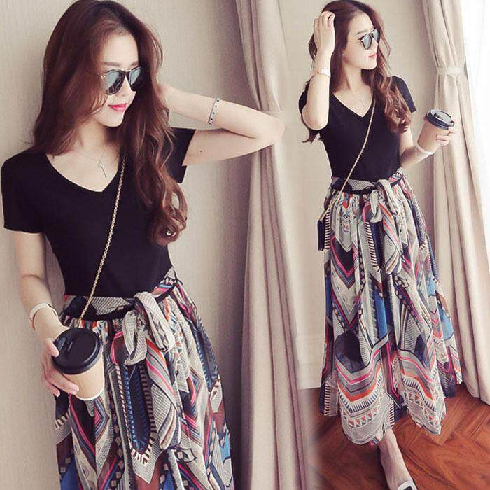 Bolster Store Korean Style Women Maxi Flora Print A Shape Swing Long Dress. Ready Stock