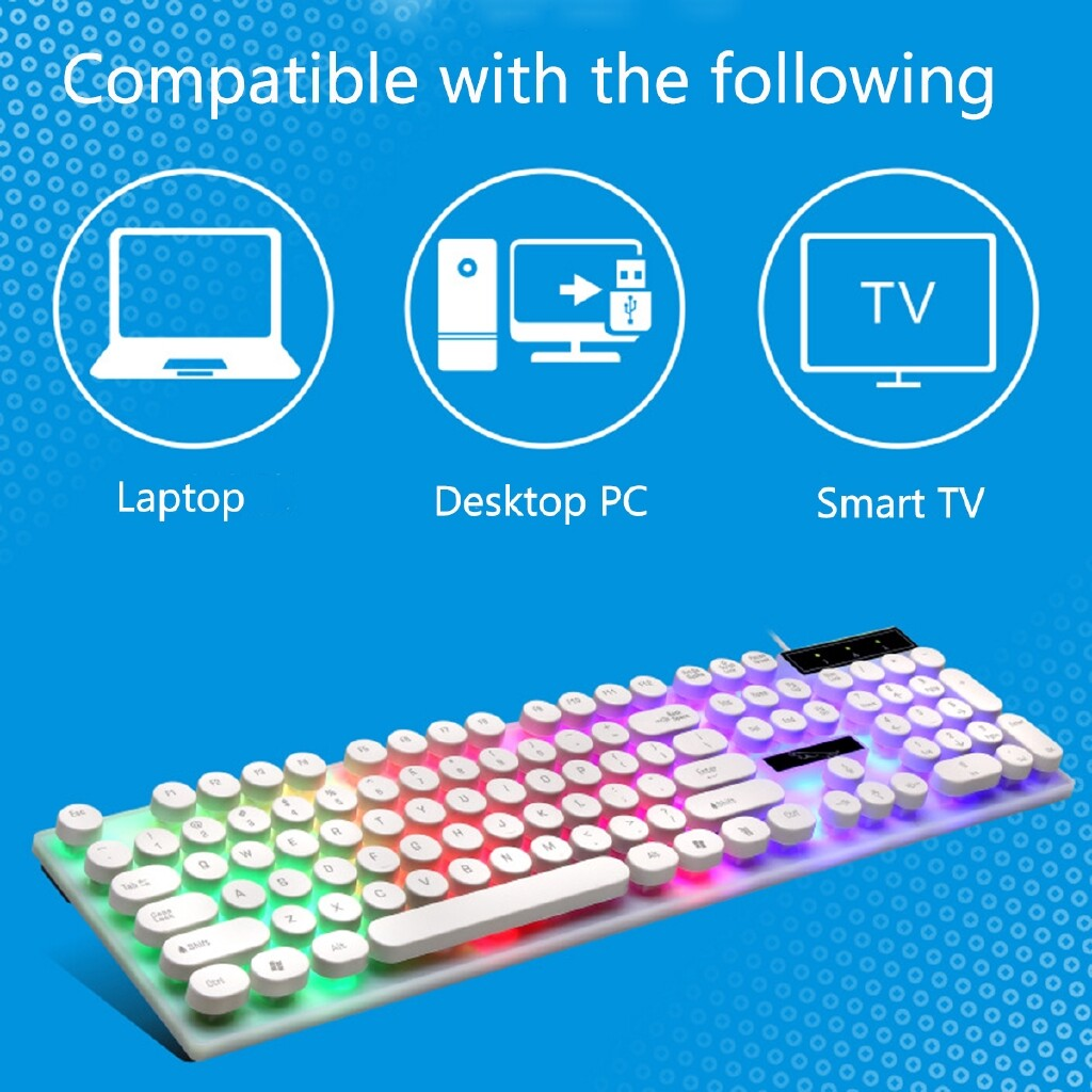 Computer Mouse - Wired Backlight Gaming Keyboard Mechanical Mouse Pad LED Light Computer Laptop - BLACK / WHITE