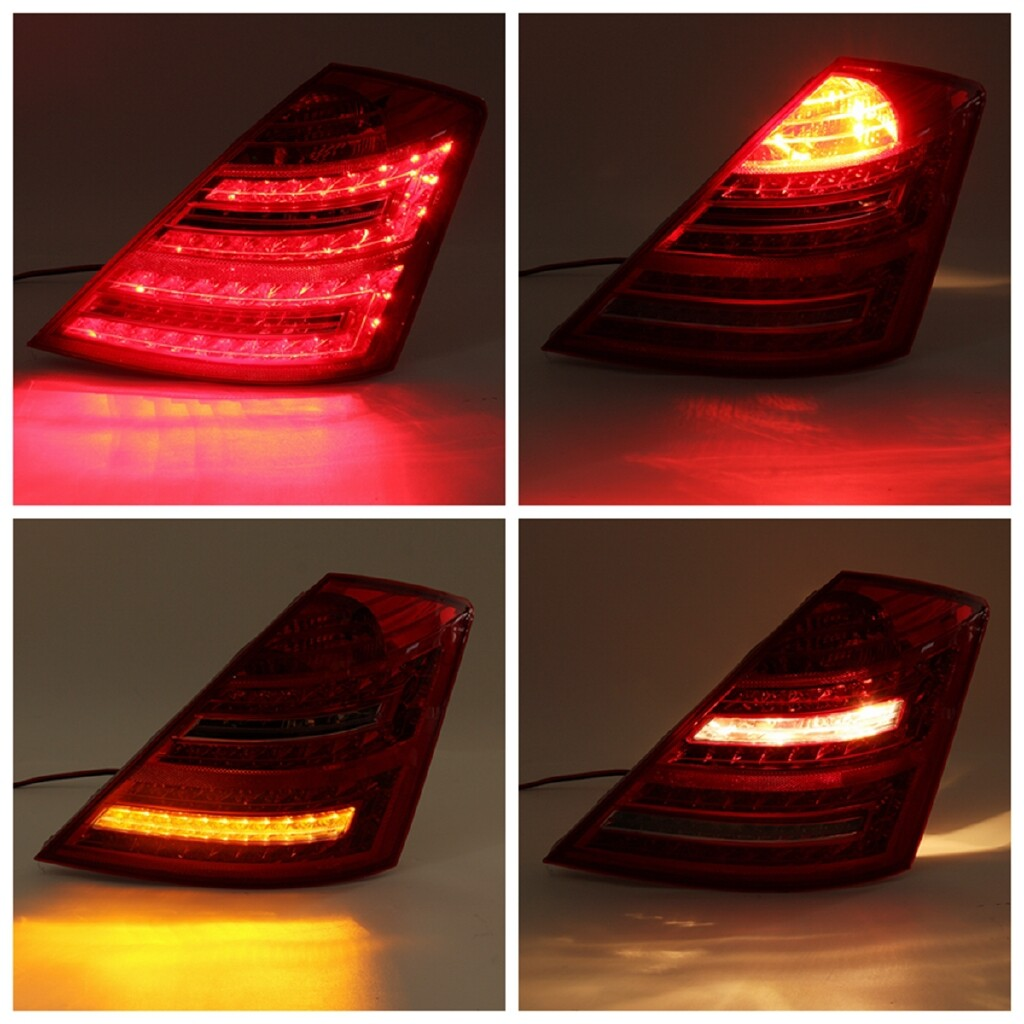 Car Lights - Pair Clear Red Tail Brake Light For Benz W221 S Class S450 S550 S600 2006-2008 - Replacement Parts