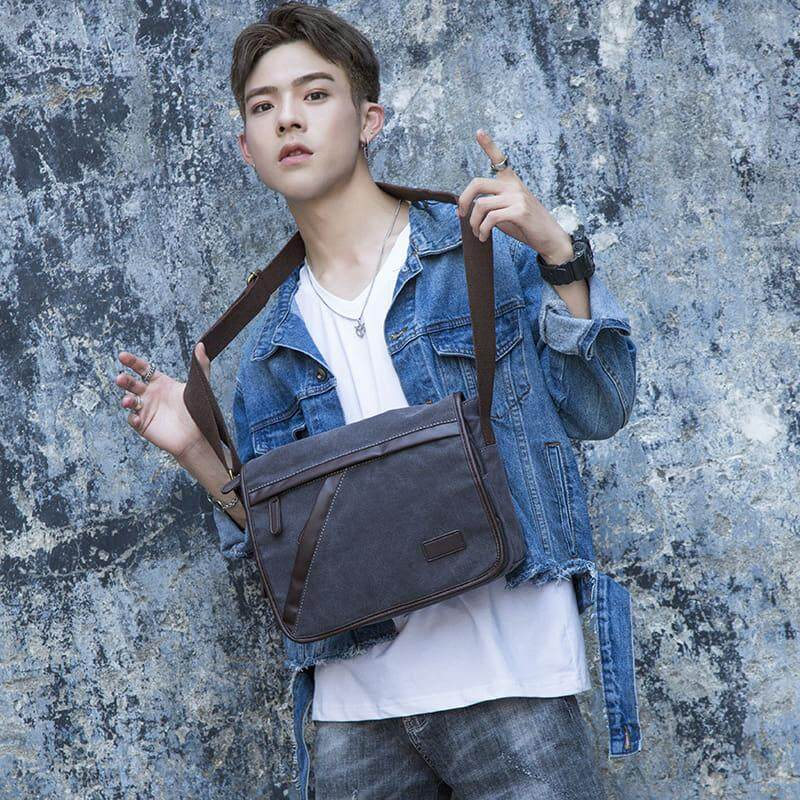 [M'sia Warehouse Direct] 2019 Korean Series Canvas + Leather Men's Sling Bag Messenger Bag Cross Body Multifunction Casual Shoulder Pouch Handcarry Bag Lightweight Travel Bag Multipurpose Best Gift For Love One Kulit Halal