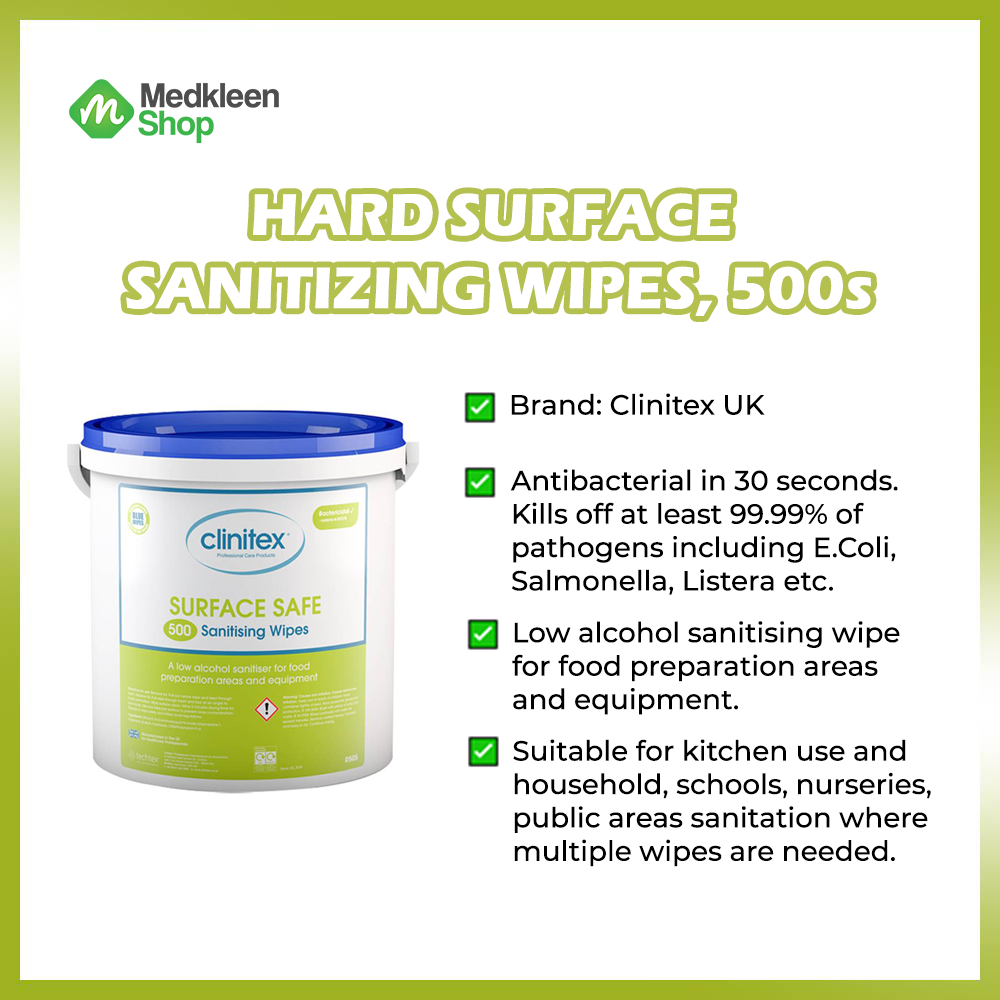 Surface Safe Sanitizing Wipes, 500pcs, Made in UK