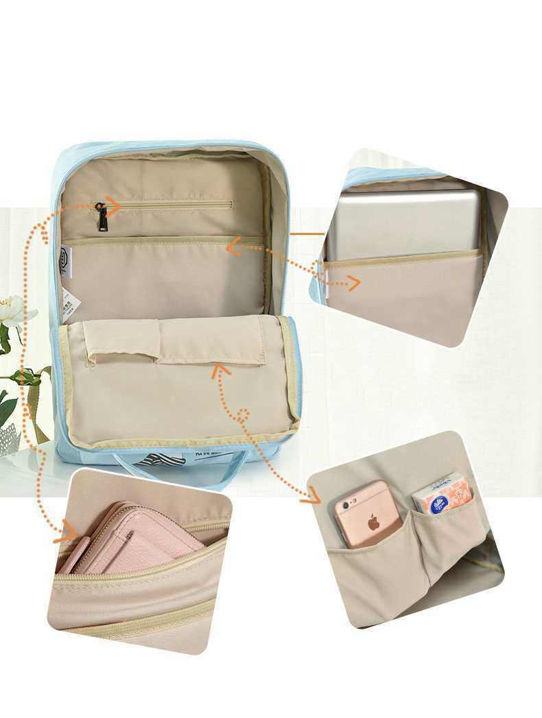 ULZ Modern Korea Style Sky Blue Girls Secondary School Bag