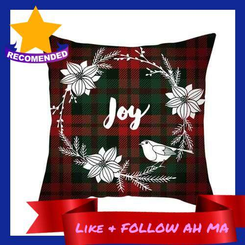 Best Selling Christmas Style Pillowcase Red Plaid Cushion Cover Square Pillow Case 450*450mm Home Sofa Decor (9)