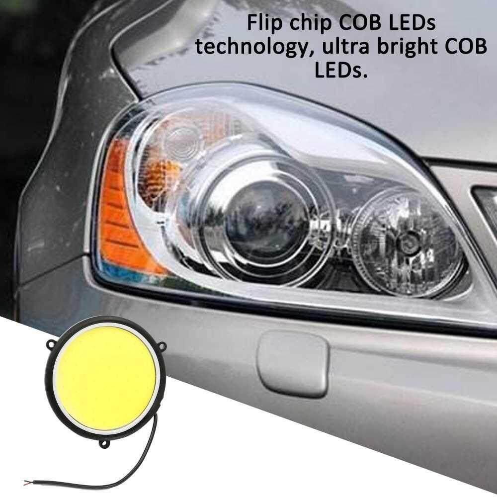 Car DRL Waterproof Daytime Running Light Flexible Round Shape White LED Lights Driving Lamp COB Lights Car- styling 2PCS 12V DC 90mm (Standard)