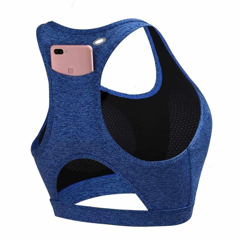 Yoga shockproof sports bra back pocket Padded Racerback Sports Bras (Blue)
