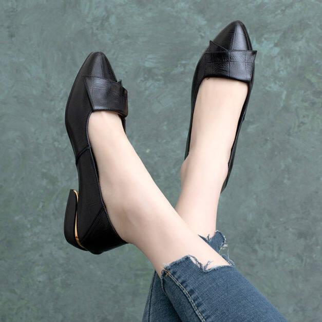 Phụ Nữ Slip-On Giày Da Đôi Giày Lười Giày Công Sở Thường Ngày Mũi Nhọn Cho Nữ Giày Lười Da Đế Bằng Mềm giá rẻ