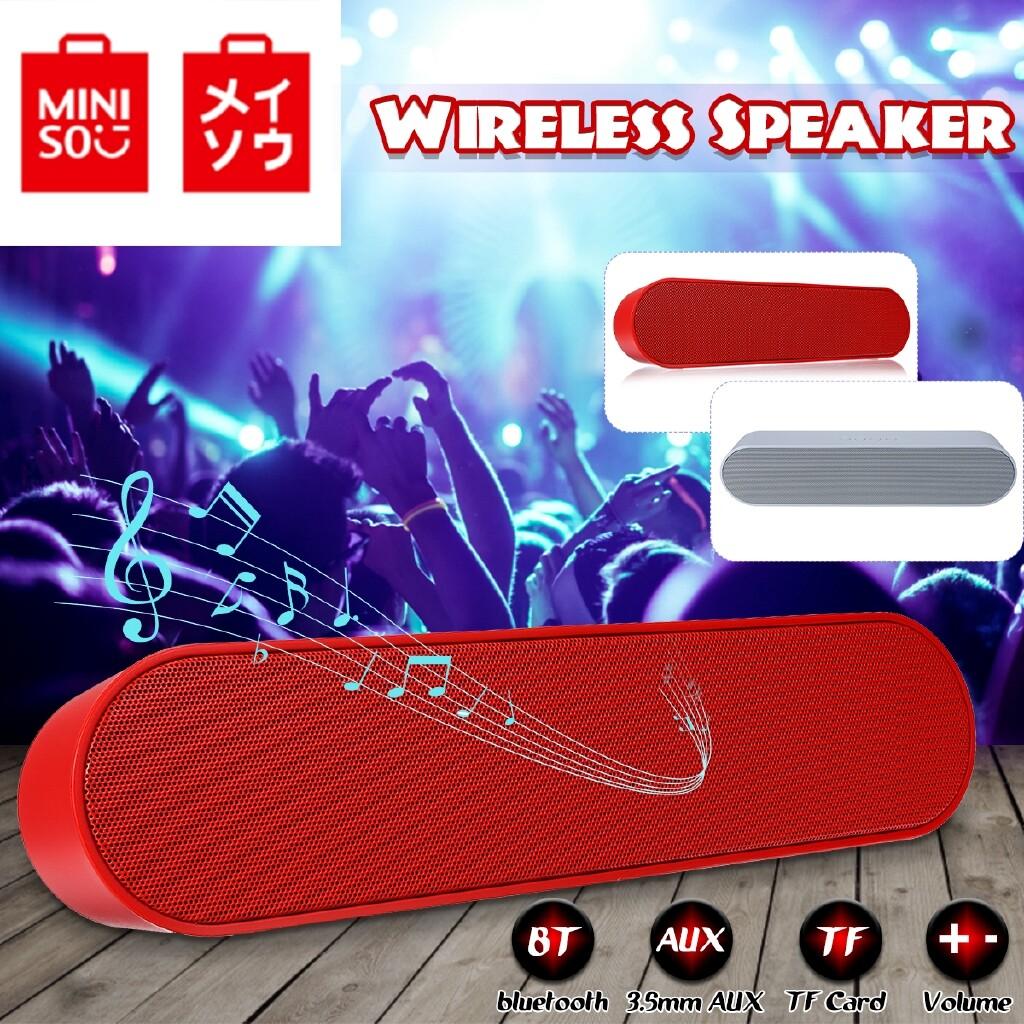 On-Ear Headphones - MINISO PORTABLE BLUETOOTH WIRELESS Speaker Subwoofer Loudspeaker TF AUX MP3 - BLUE / RED