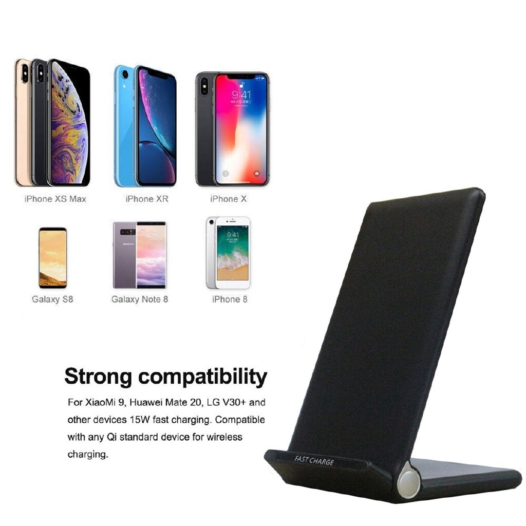 Chargers - 20W Qi WIRELESS Fast Charger Charging Bracket Stand Holder for iPh Samsung - BLACK / WHITE