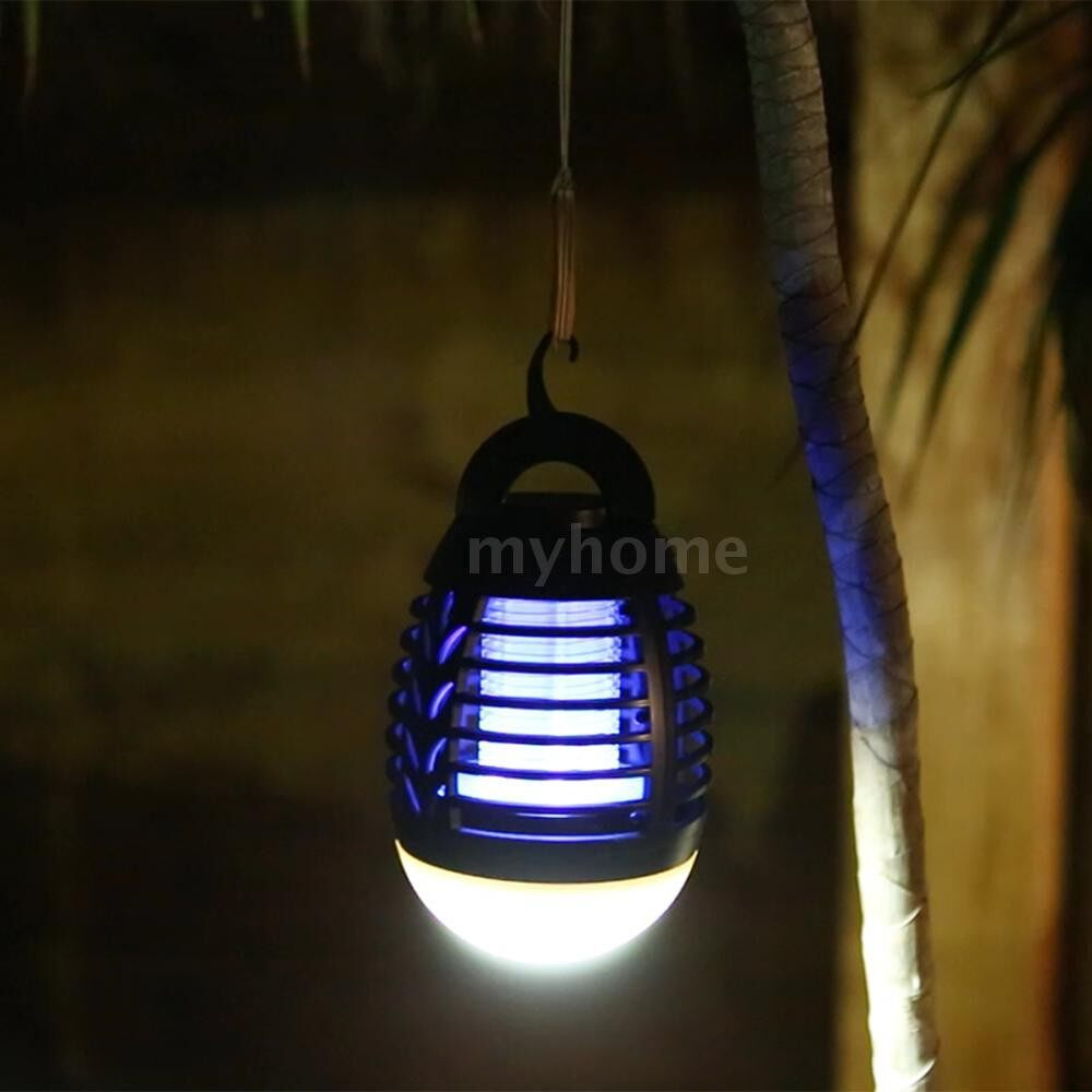 Lighting - 2-In-1 Insect Killer Mosquito Killer Lamp Camping Lamp Electric Flytrap LED Lantern IP66 Waterproof - BLACK