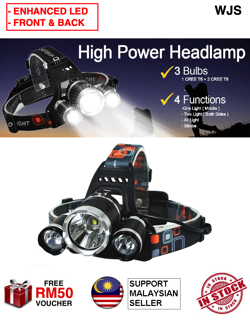 (FREE BATTERY & CHARGER) WJS 3 Enhanced LED Extra Brightest Front Back Head Lamp Head LED Work Headlight 18650 Rechargeable Waterproof Torch Light Flashlight 4 Modes Headlamp Lampu Suluh Kepala [FREE RM 50 VOUCHER]