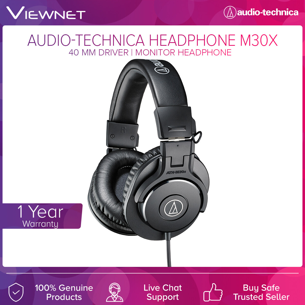 Audio-Technica Professional Monitor Headphones ATH-M30X with 40mm Driver, Copper-Clad Aluminum Wire, 3 Meter Length Cable, 15 - 22,000 Hz