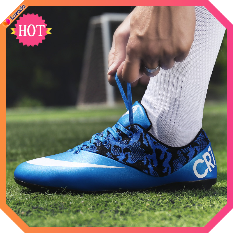 (ag Size 31-44)kids Football Shoes Boys Soccer Shoes Girls Futsal Shoes Outdoor Turf Training Shoes Men Football Shoes Pink Cr7.