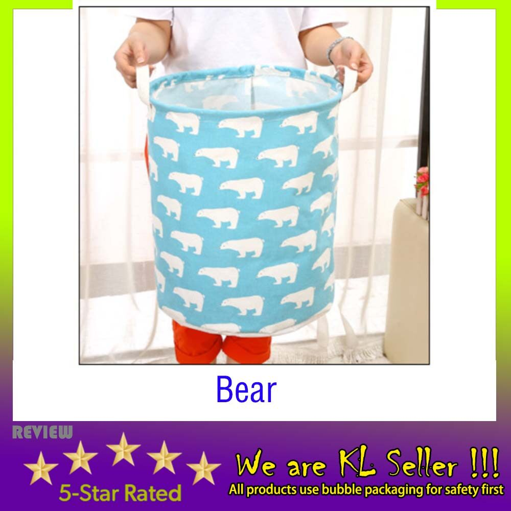 (Buy 1 Free 1) Foldable cotton and linen dirty clothes basket bathroom waterproof cartoon laundry basket 35x45cm