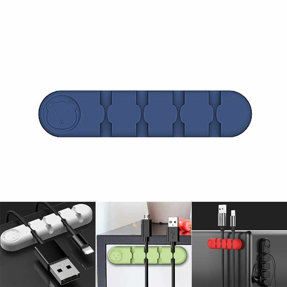 People's Choice Cable Holder Silicone Cable Organizer USB Winder Desktop Tidy Management Clips Holder For Earphone Charger Cord Data Cable for Office Home use (Blue)
