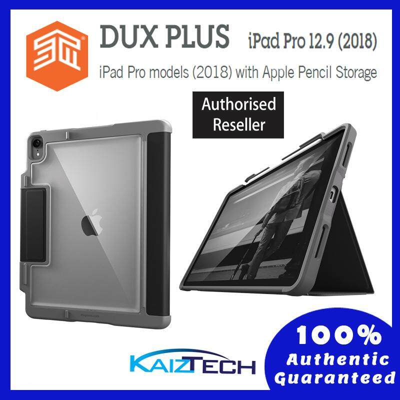 Original STM DUX PLUS iPad Pro 12.9 (2018) with Apple Pencil Storage, stm-222-197L-01 (Black)