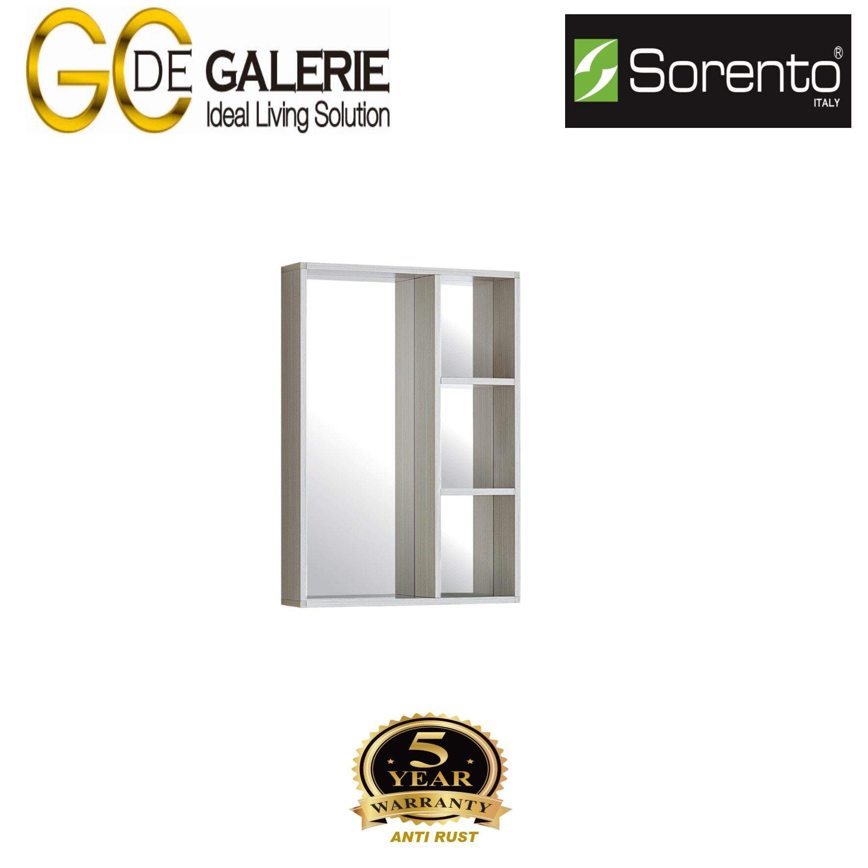 Sorento SRTAL4361MC Bathroom Aluminium Mirror Cabinet