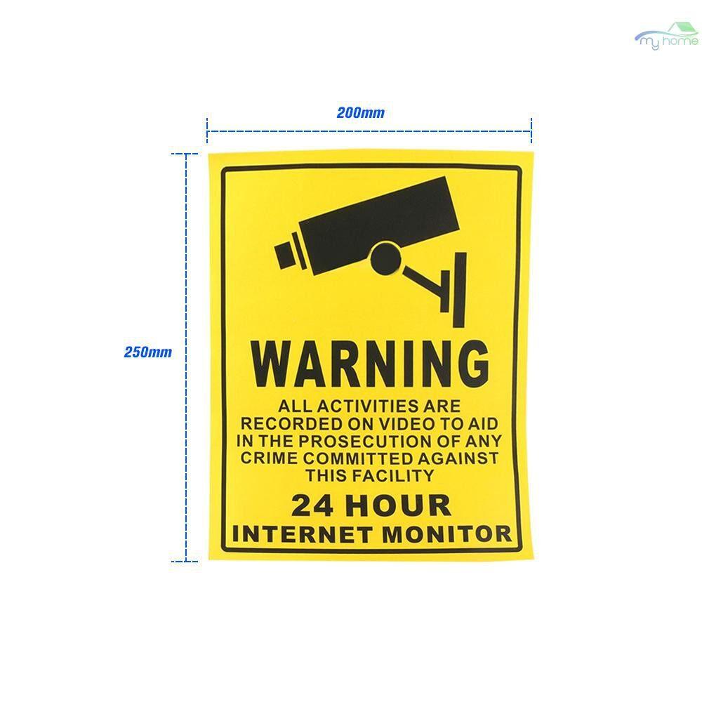 Monitors - 5 PIECE(s)/lot Safurance Waterproof Sunscreen PVC CCTV Video Surveillance Security Camera Alarm Sticker - YELLOW&BLACK