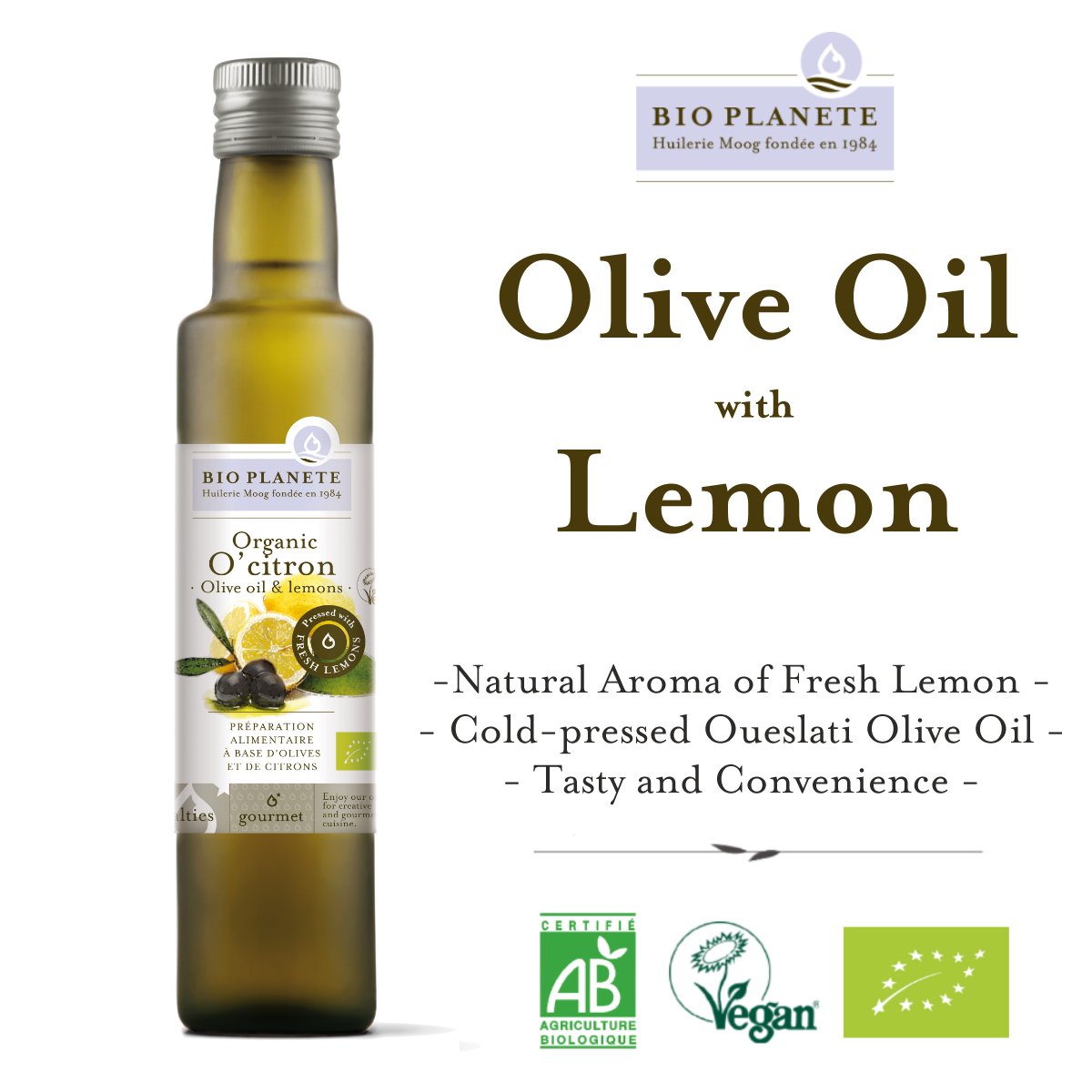 BIO PLANETE Organic Olive Oil with Lemon (250ml) - Organik Minyak Zaitun dengan Limau - 有机柠檬橄榄油 (250毫升)