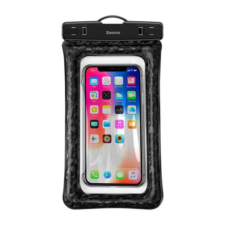 Baseus Air Cushion Waterproof bag, for 4.7-5.8 Inches mobile phone, PVC +ABS Material, Full Screen touch, 100 feet IPX8 Certified waterproof, Black / Orange